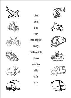 transport vocabulary  kids learning english matching game