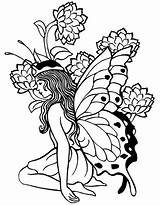 Coloring Fairy Pages Printable Adult Adults Popular sketch template