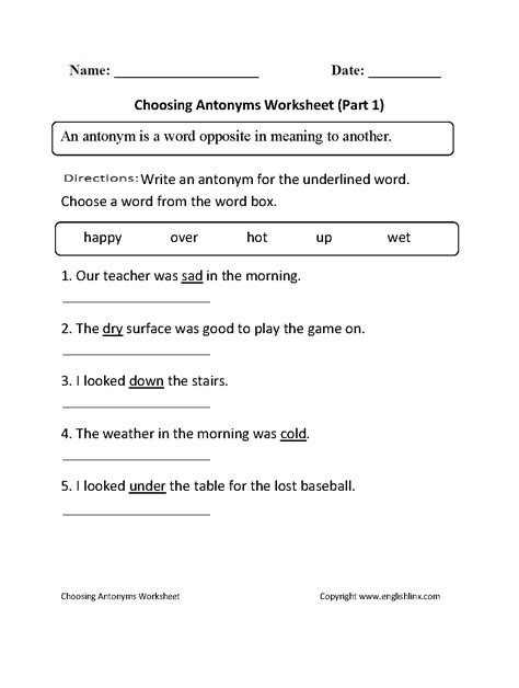 Englishlinxcom  Antonyms Worksheets