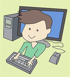 Person At Computer Cartoon - Free Clip Art - Clipart Bay