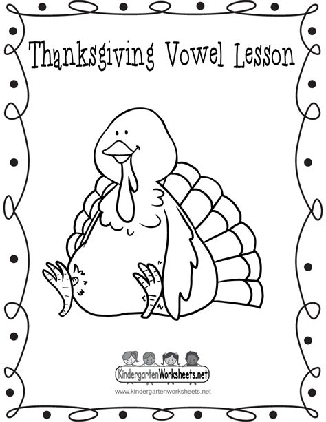 thanksgiving vowel lesson cover page