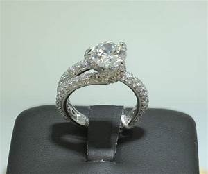 Modern 18k white gold 2ct pave diamond engagement wedding for Modern diamond wedding rings