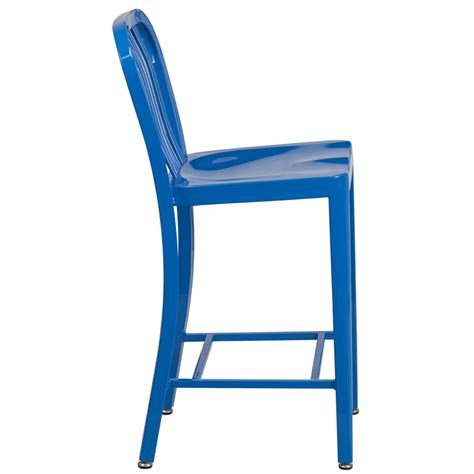 Bar Stool Pads Covers by 24 High Blue Metal Indoor Outdoor Counter Height Stool