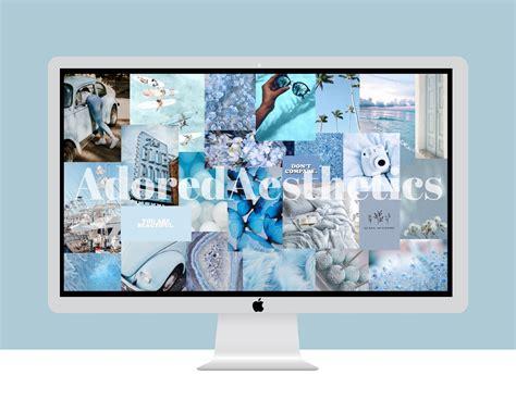 blue aesthetic macbook desktop collage wallpaper etsy