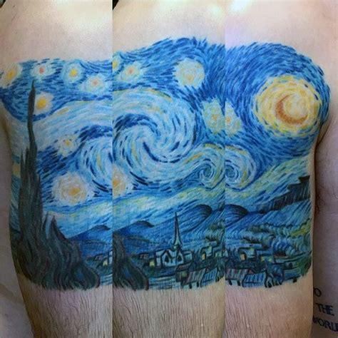 starry night tattoo designs  men painting ink ideas