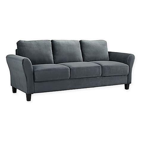 gray sectional sofa microfiber lifestyle solutions viola microfiber sofa in grey bed bath beyond