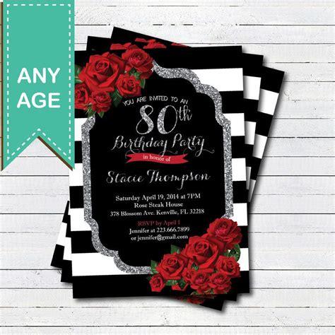 birthday invitation  lady red rose black