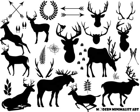 Moose In Forest Clipart Black And White Silhouette Collection
