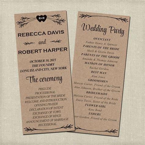 rustic wedding program template printable