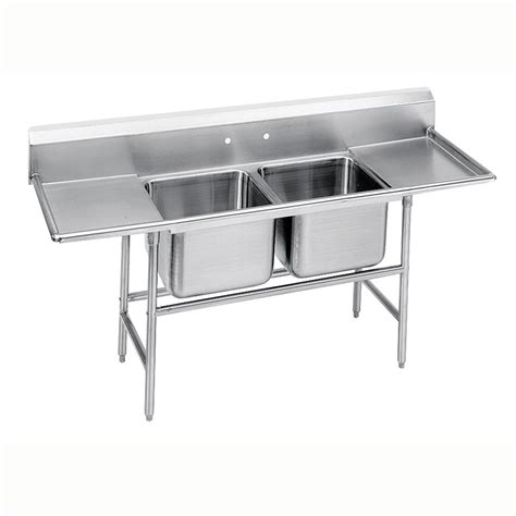 kitchen sink fittings advance tabco 94 22 40 36rl 117 quot 2 compartment sink w 20 2709