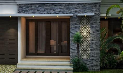 rumah minimalis tampak depan  batu alam desain