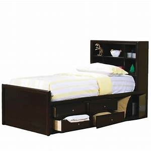 coaster phoenix bookcase storage bed in cappuccino finish With bedding stores phoenix