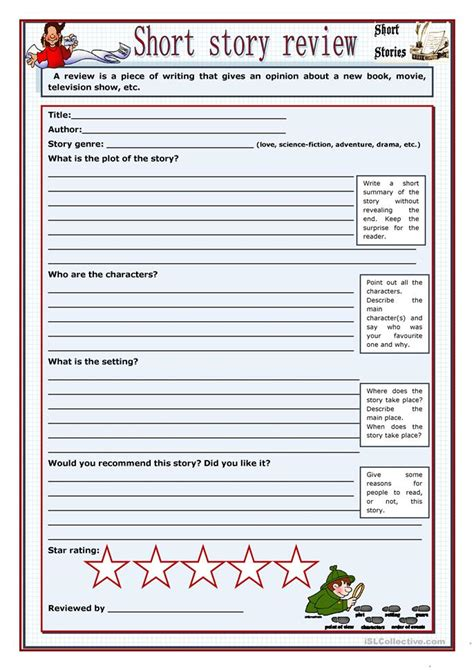short story review worksheet  esl printable