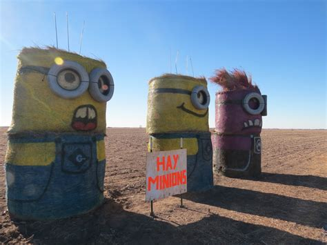 Minions say hi on US Highway 77 - The Walking Tourists