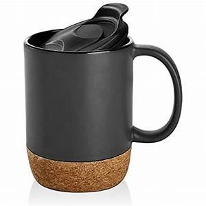 15, Oz, Coffee, Mug, Sets, 2, Large, Ceramic, Mugs, With, Insulated, Cork, And, Splash, Lid