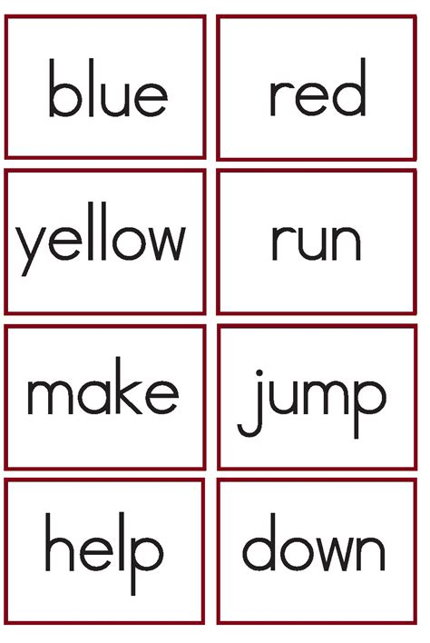 site words for preschoolers flashcards kindergarten worksheets kindergarten sight words flash cards 633