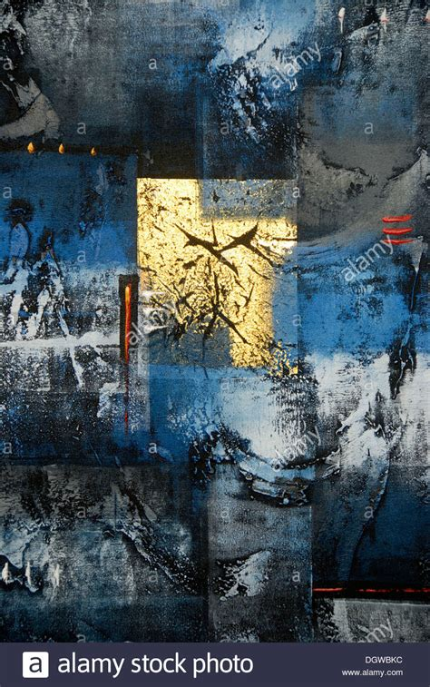 Abstract Black And Blue Painting by Abstract Painting In The Colours Gold Blue Black