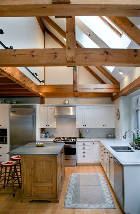 great post  beam kitchen partial cathedral ceiling