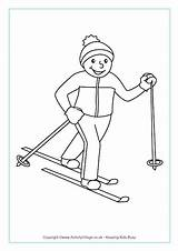 Skiing Country Colouring Cross Pages Winter Olympics Freestyle Crafts Olympic Coloring Sports Template Preschool Activityvillage Ski Printable Ice Tel Outline sketch template