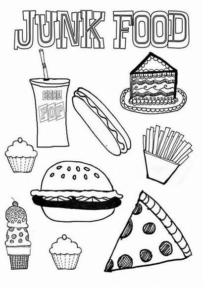 Coloring Pages Healthy Foods Preschool Unhealthy Junk