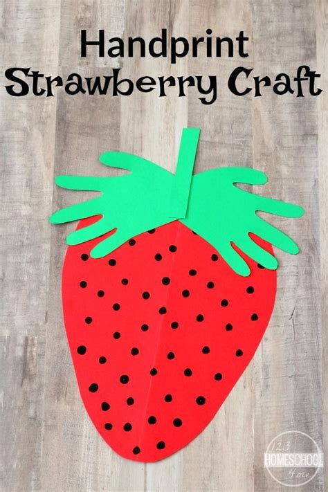 handprint strawberry craft summer crafts  toddlers