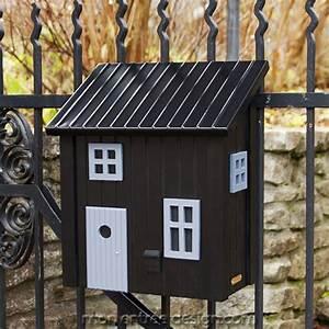 Boites Aux Lettres Originales : boite lettres originale maison en bois poststuga noir ~ Dailycaller-alerts.com Idées de Décoration