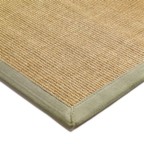natural sisal rugs   green border