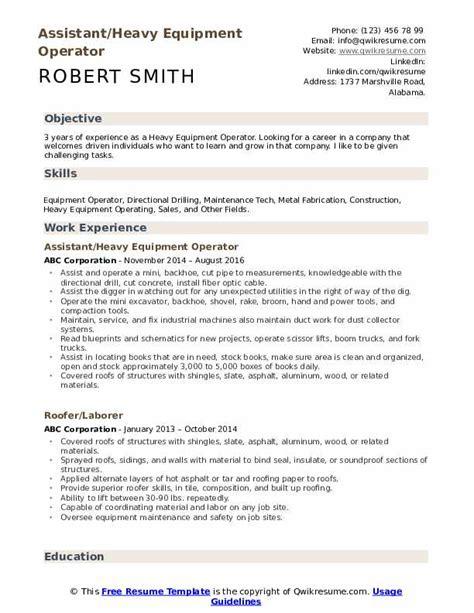 Operator Resume by Heavy Equipment Operator Resume Sles Qwikresume