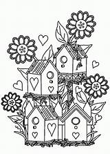 Coloring Pages Garden Flower Bird Birdhouse Gardens Colouring Houses Adult Print Drawing Flowers Printable Adults Books Gardening Tocolor Fairy Alexander sketch template