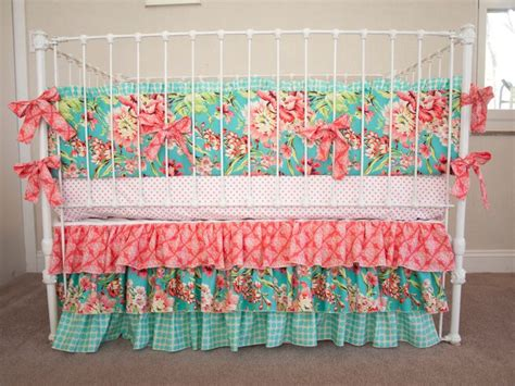 Floral Aqua, Teal, Turquoise, Coral, Gold Dots Baby Girl