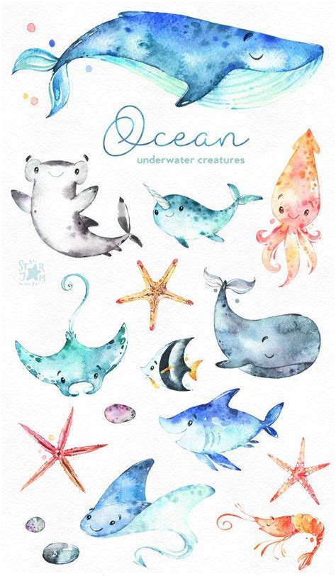ocean underwater creatures watercolor clip art sharks