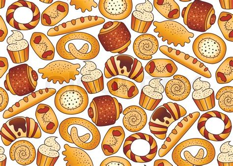 Seamless background with bakery products   Stock Vector   Colourbox