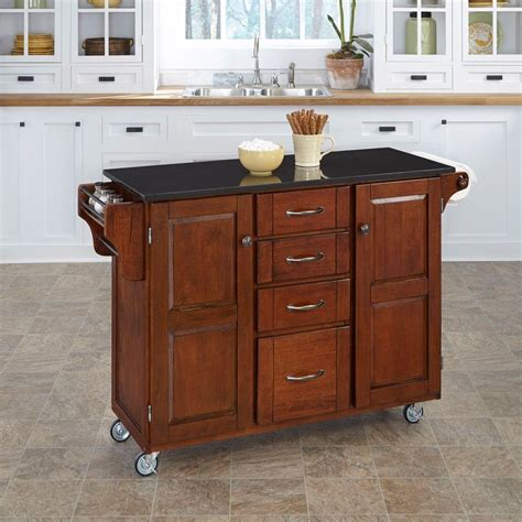 kitchen islands with granite tops home styles create a cart cherry kitchen cart with black