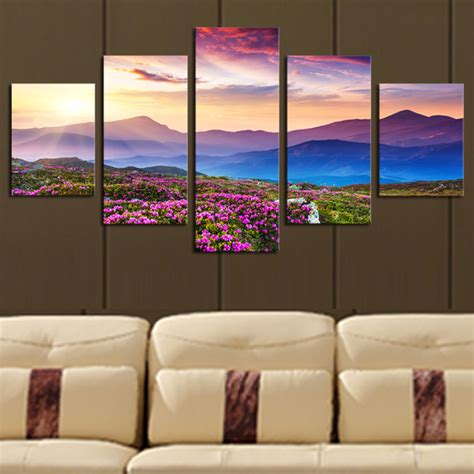 Wall Decor Canvas by 5 No Frame The Sunset And The Mountain Modern Home