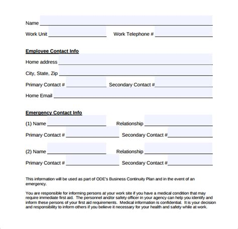 simple contact form emergency contact forms 11 download free documents in