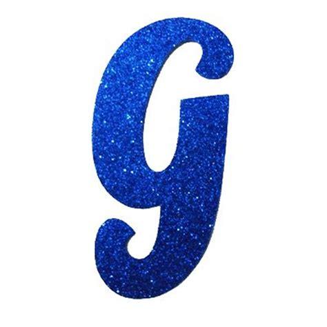 lletra cursiva em gliter g azul carregando letras
