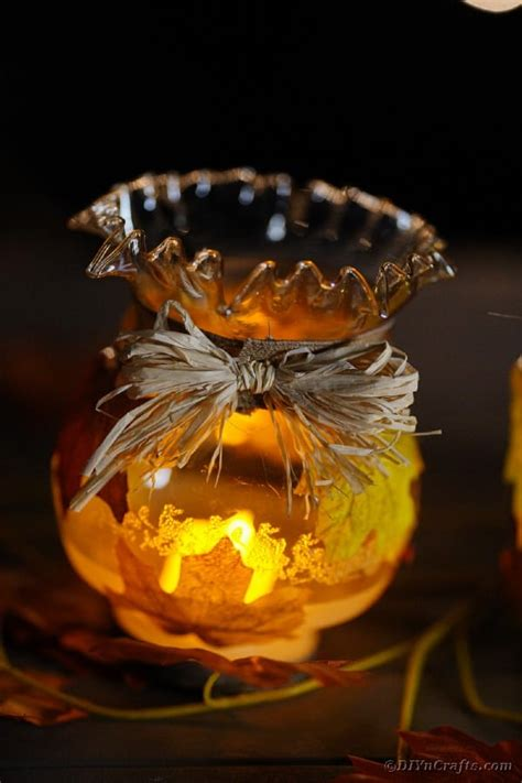 Rustic Fall Leaf Upcycled Jar Lanterns {Video Tutorial