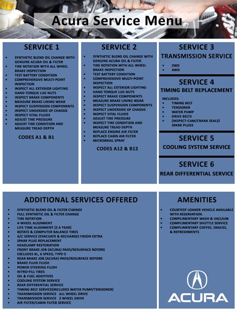 Santa Acura Service by Automotive Service Menu Acura Of Columbus