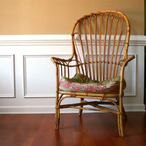 vintage patio chair high back armchair rattan wicker