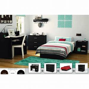 South shore 4 piece bedroom furniture set black walmartcom for Walmart bedroom furniture