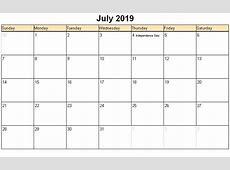 July 2019 Calendar With Holidays calendar for 2019