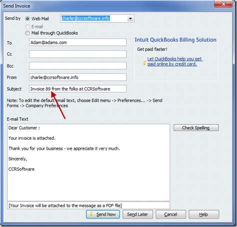 quickbooks email invoice template  facts