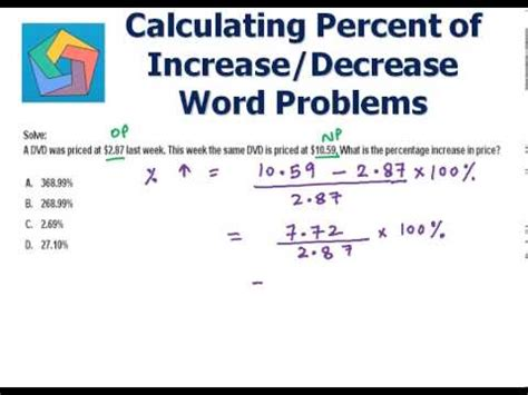 calculating percent of increase decrease word problems
