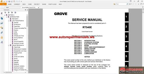 Grove Mobile Crane Rt540e Service Manual