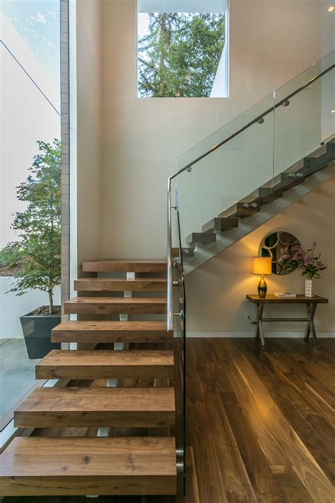 Glass Banisters For Stairs - wood steps glass banister modern staircase at knobhill