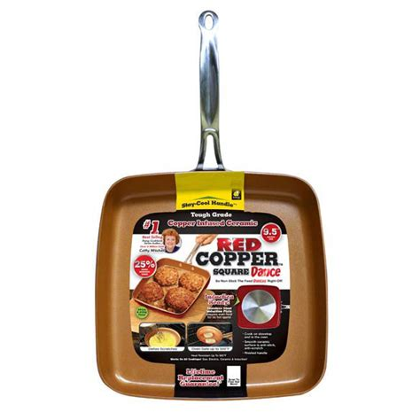 red copper  square dance pan frying pan walter drake