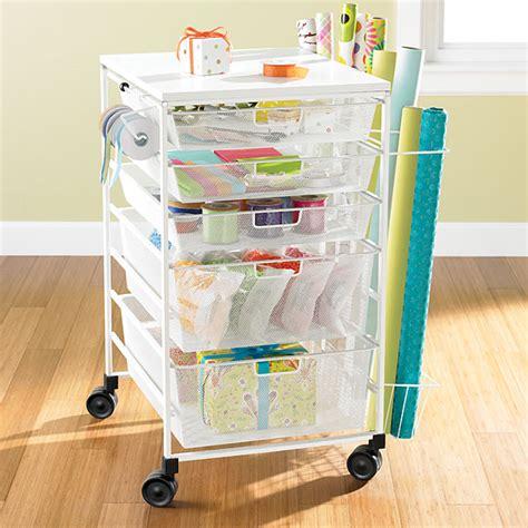 Gift Wrap Cart  White Elfa Mesh Gift Wrap Cart The