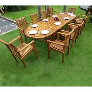 Table Teck Jardin : ensemble salon de jardin en teck en promotion table 10 fauteuils en teck raja ~ Teatrodelosmanantiales.com Idées de Décoration
