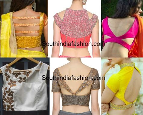 tie neck blouse stylish cut out blouse designs south india fashion