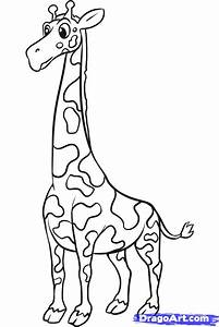 How to Draw a Simple Giraffe, Step by Step, safari animals ...